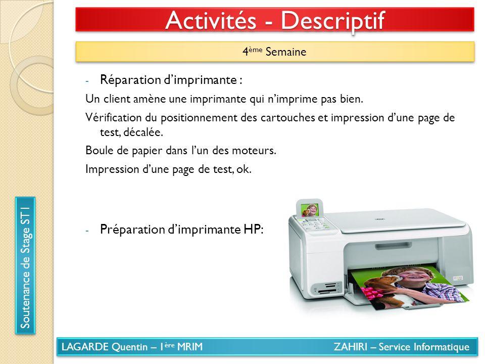 LAGARDE Quentin – 1 ère MRIM ZAHIRI – Service Informatique Soutenance de Stage ST1 Activités - Descriptif 4 ème Semaine - Réparation dimprimante : Un