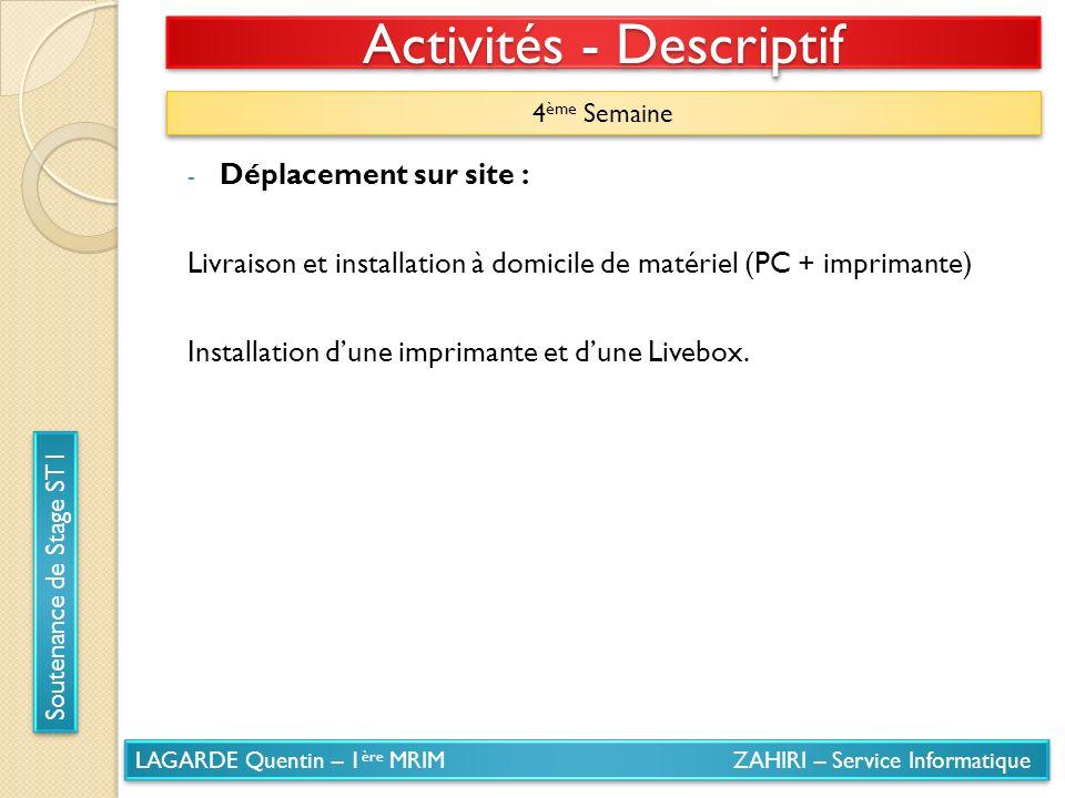 LAGARDE Quentin – 1 ère MRIM ZAHIRI – Service Informatique Soutenance de Stage ST1 Activités - Descriptif 4 ème Semaine - Déplacement sur site : Livra