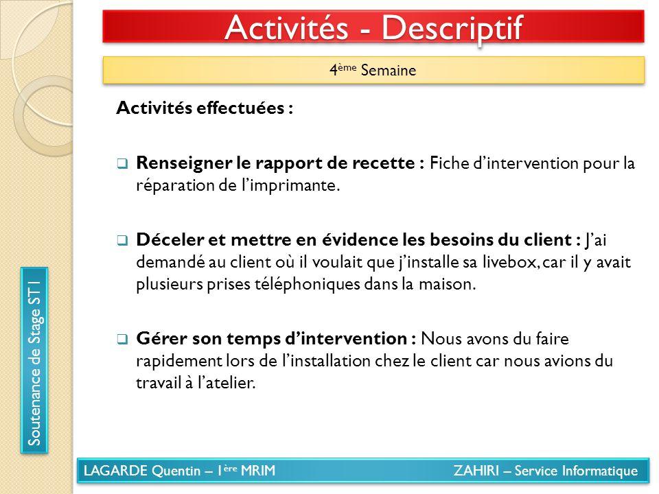 LAGARDE Quentin – 1 ère MRIM ZAHIRI – Service Informatique Soutenance de Stage ST1 Activités - Descriptif 4 ème Semaine Activités effectuées : Renseig