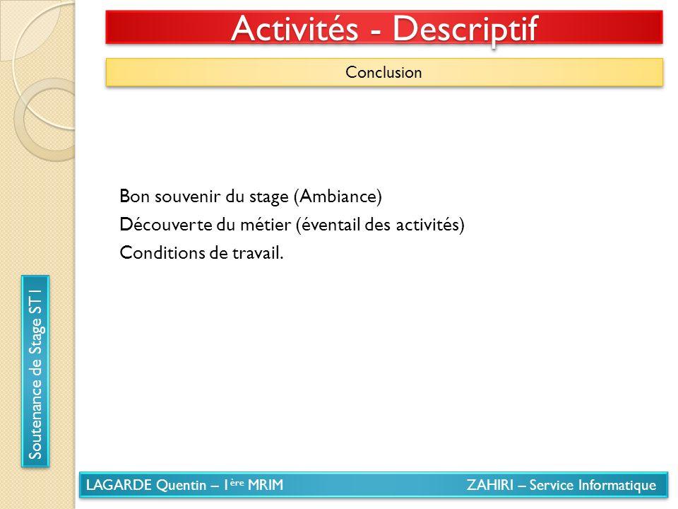 LAGARDE Quentin – 1 ère MRIM ZAHIRI – Service Informatique Soutenance de Stage ST1 Activités - Descriptif Conclusion Bon souvenir du stage (Ambiance)