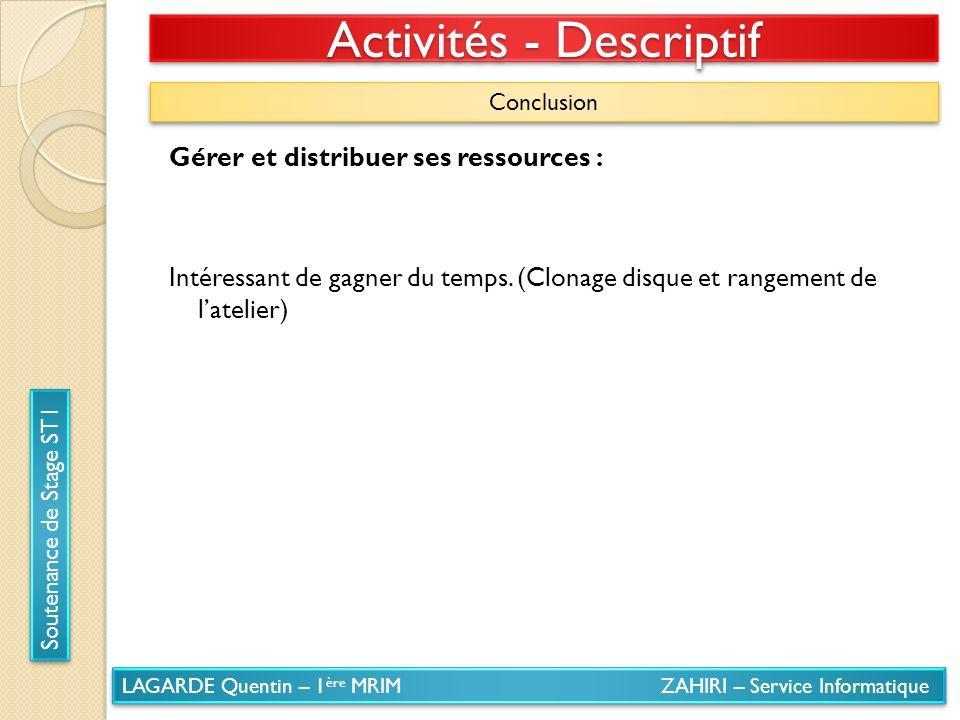 LAGARDE Quentin – 1 ère MRIM ZAHIRI – Service Informatique Soutenance de Stage ST1 Activités - Descriptif Conclusion Gérer et distribuer ses ressource