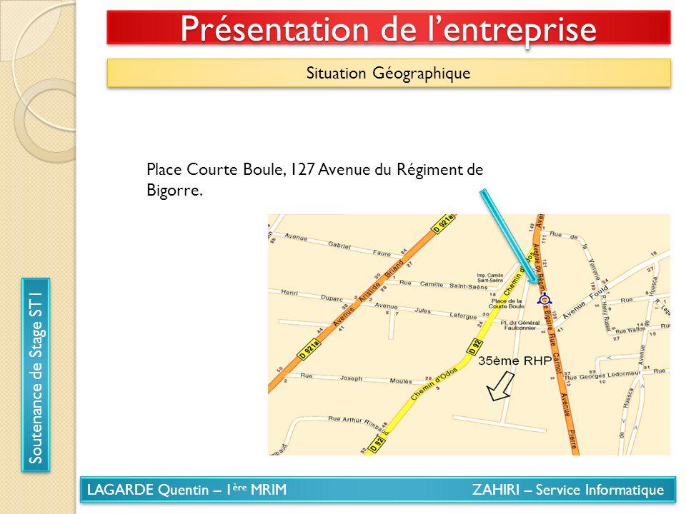 LAGARDE Quentin – 1 ère MRIM ZAHIRI – Service Informatique Soutenance de Stage ST1 Présentation de lentreprise Situation Géographique Place Courte Bou
