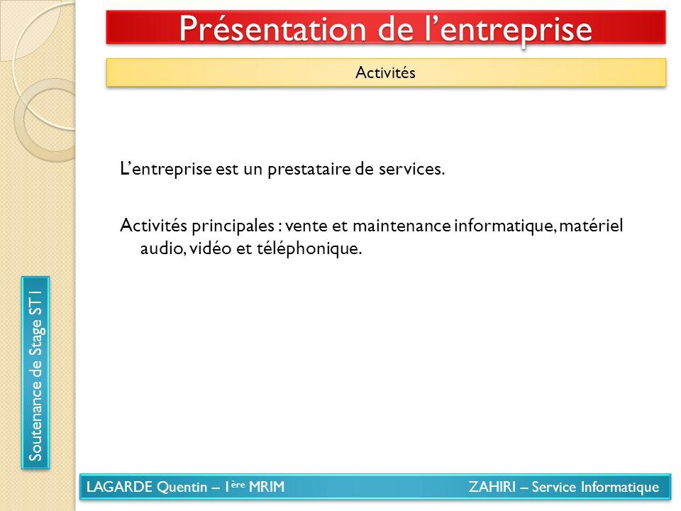 LAGARDE Quentin – 1 ère MRIM ZAHIRI – Service Informatique Soutenance de Stage ST1 Présentation de lentreprise Activités Lentreprise est un prestatair