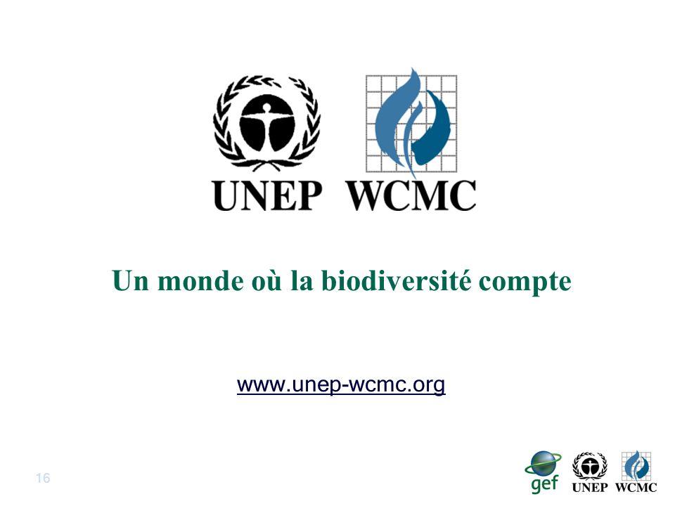 16 Un monde où la biodiversité compte www.unep-wcmc.org