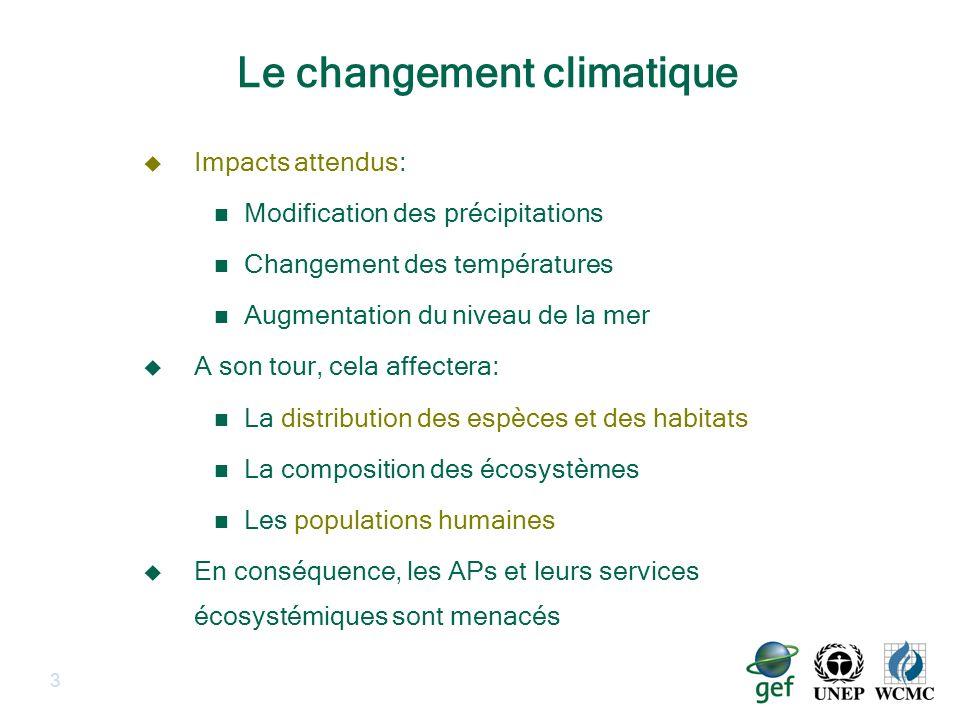 3 Le changement climatique Impacts attendus: Modification des précipitations Changement des températures Augmentation du niveau de la mer A son tour,