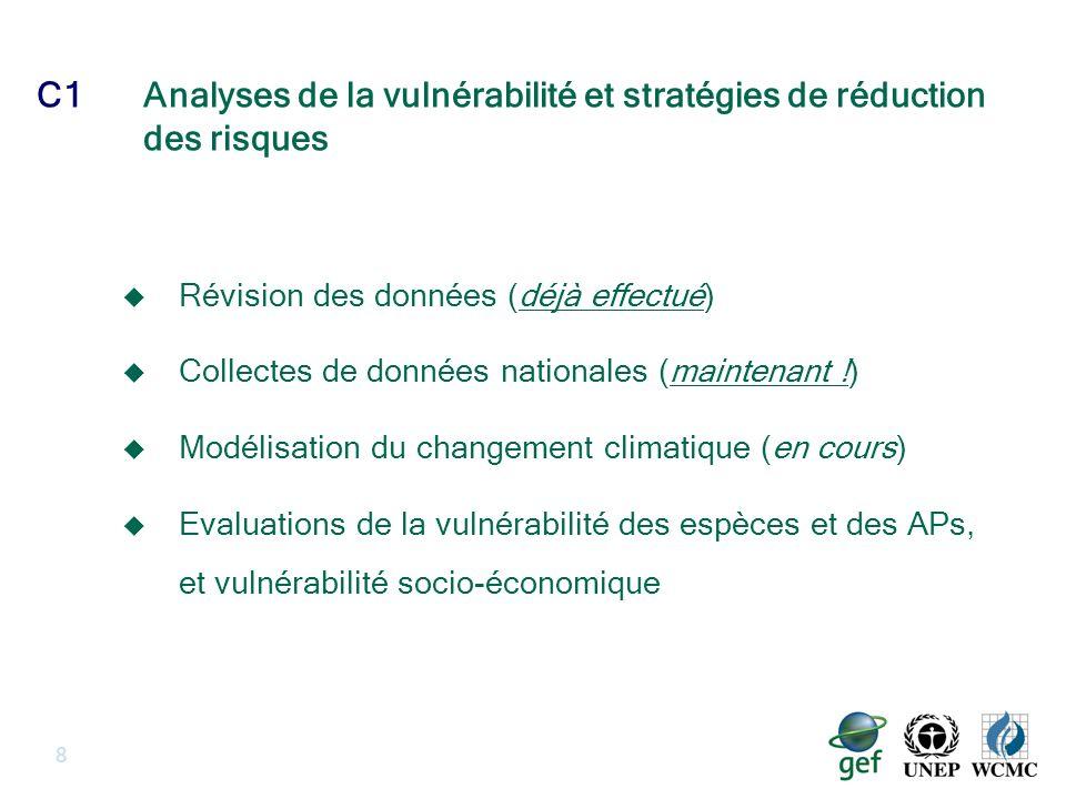 C1Analyses de la vulnérabilité et stratégies de réduction des risques 8 Révision des données (déjà effectué) Collectes de données nationales (maintenant !) Modélisation du changement climatique (en cours) Evaluations de la vulnérabilité des espèces et des APs, et vulnérabilité socio-économique