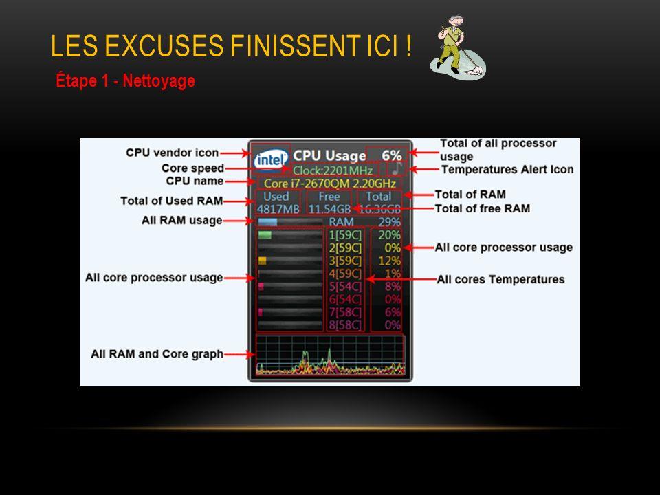 LES EXCUSES FINISSENT ICI ! Étape 1 - Nettoyage