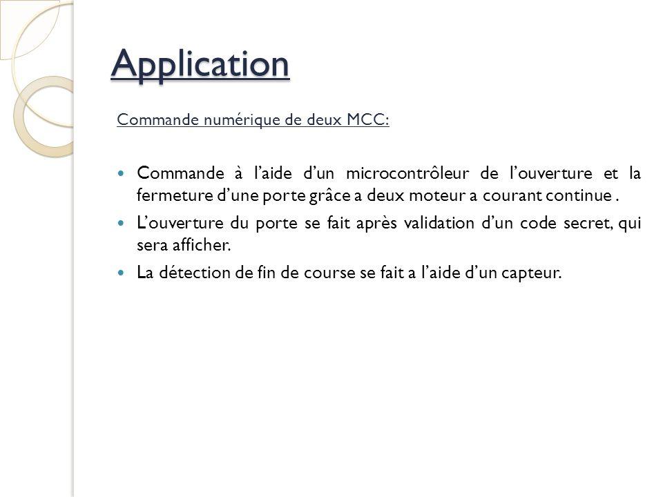 Application Commande numérique de deux MCC: Commande à laide dun microcontrôleur de louverture et la fermeture dune porte grâce a deux moteur a courant continue.
