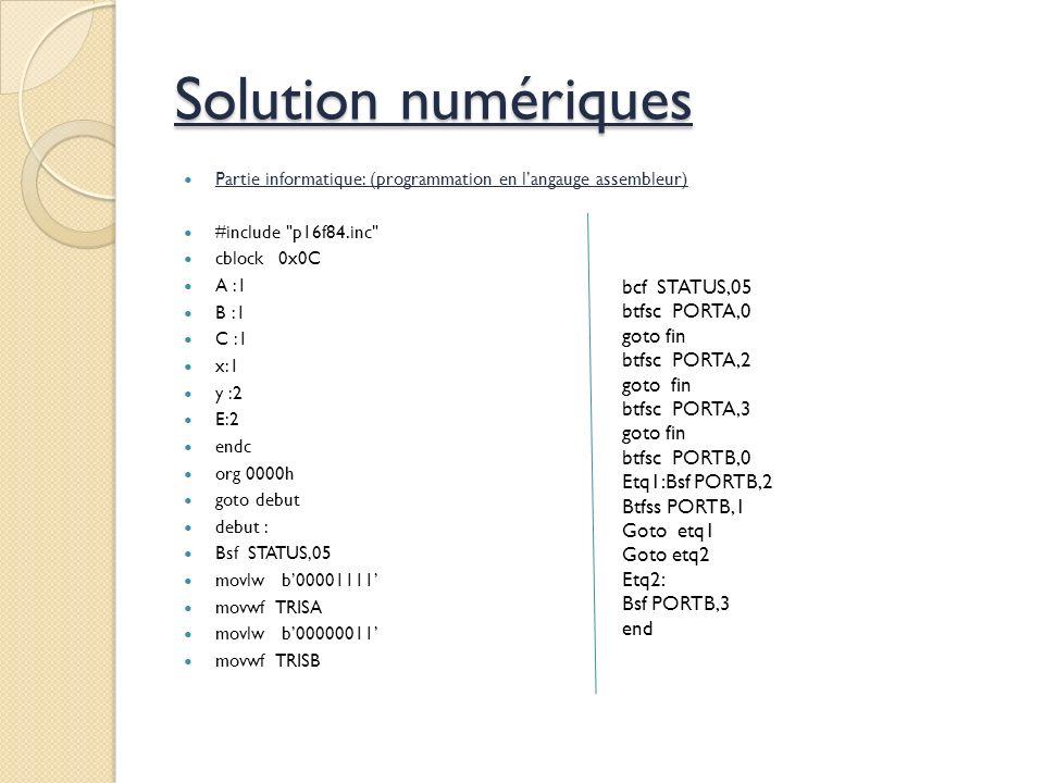 Partie informatique: (programmation en langauge assembleur) #include p16f84.inc cblock0x0C A :1 B :1 C :1 x:1 y :2 E:2 endc org 0000h goto debut debut : Bsf STATUS,05 movlw b00001111 movwf TRISA movlw b00000011 movwf TRISB bcf STATUS,05 btfsc PORTA,0 goto fin btfsc PORTA,2 goto fin btfsc PORTA,3 goto fin btfsc PORTB,0 Etq1:Bsf PORTB,2 Btfss PORTB,1 Goto etq1 Goto etq2 Etq2: Bsf PORTB,3 end