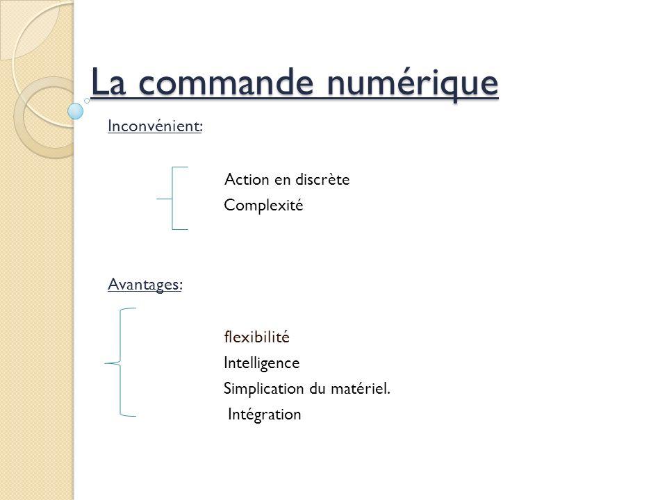 La commande numérique Inconvénient: Action en discrète Complexité Avantages: flexibilité Intelligence Simplication du matériel.