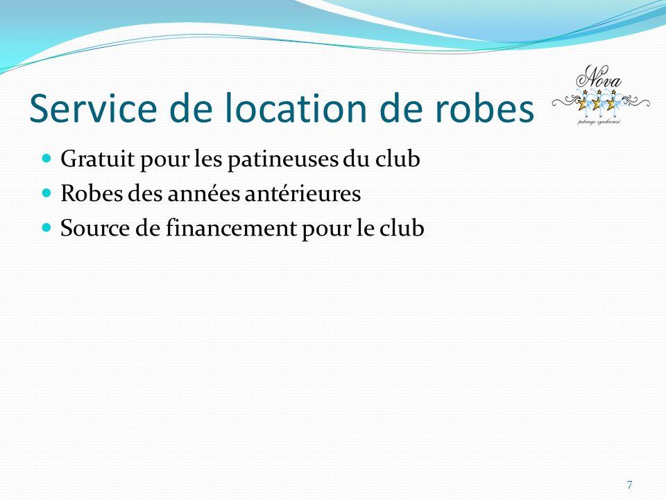 Service de location de robes Gratuit pour les patineuses du club Robes des années antérieures Source de financement pour le club 7