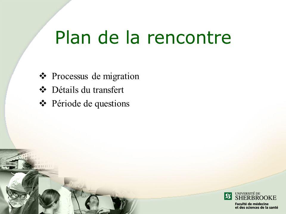 Plan de la rencontre Processus de migration Détails du transfert Période de questions