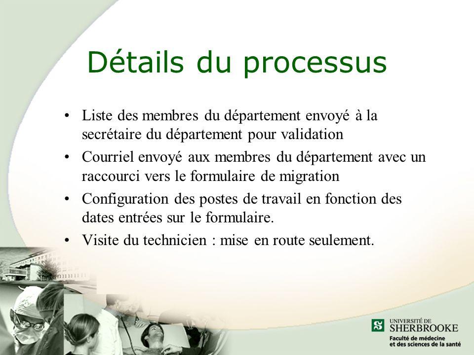 Détails du processus Liste des membres du département envoyé à la secrétaire du département pour validation Courriel envoyé aux membres du département avec un raccourci vers le formulaire de migration Configuration des postes de travail en fonction des dates entrées sur le formulaire.