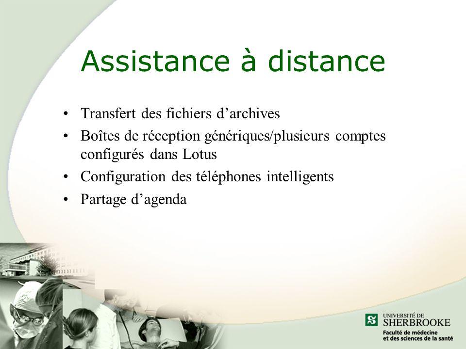 Assistance à distance Transfert des fichiers darchives Boîtes de réception génériques/plusieurs comptes configurés dans Lotus Configuration des téléphones intelligents Partage dagenda