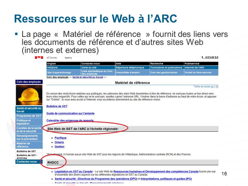 Ressources sur le Web à lARC La page « Matériel de référence » fournit des liens vers les documents de référence et dautres sites Web (internes et ext