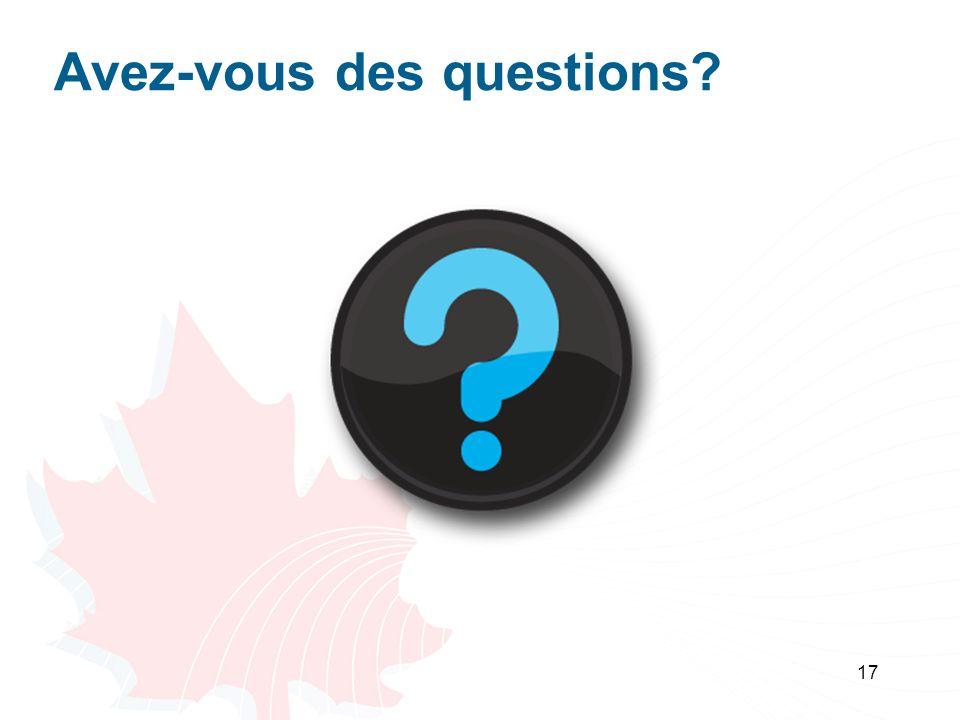 17 Avez-vous des questions?