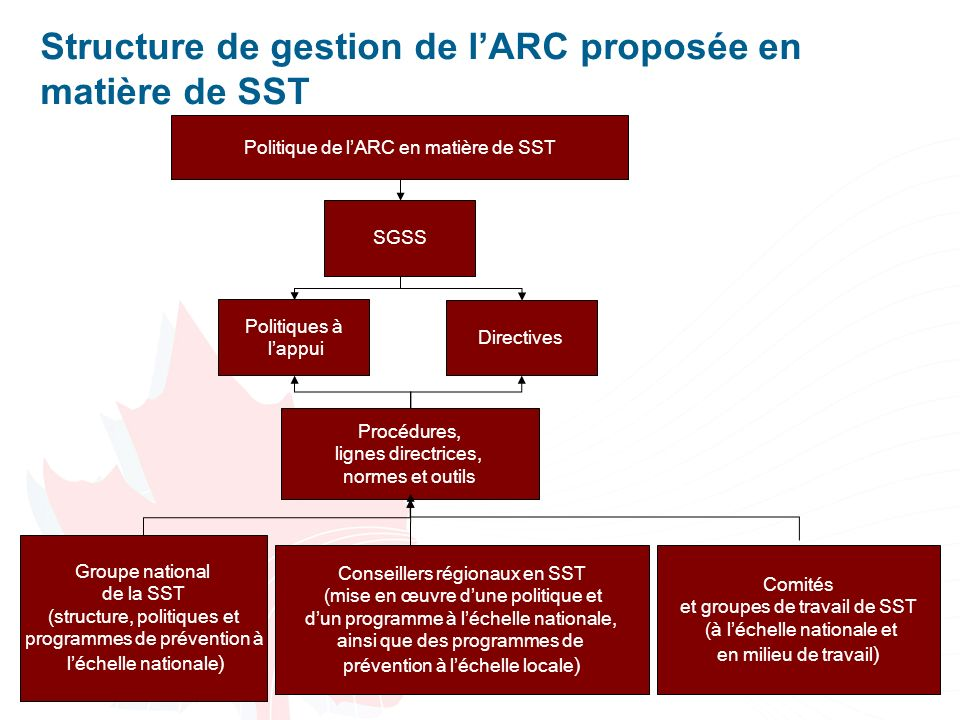 4 Structure de gestion de lARC proposée en matière de SST Politique de lARC en matière de SST SGSS Procédures, lignes directrices, normes et outils Po