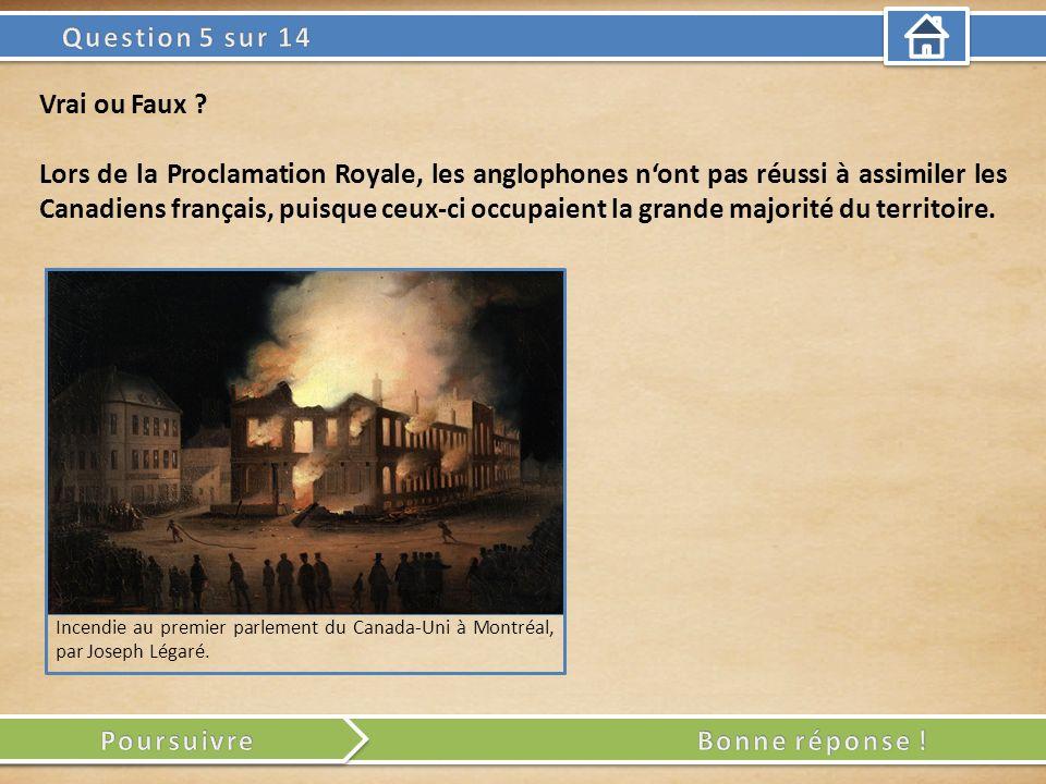 Incendie au premier parlement du Canada-Uni à Montréal, par Joseph Légaré. Vrai ou Faux ? Lors de la Proclamation Royale, les anglophones nont pas réu