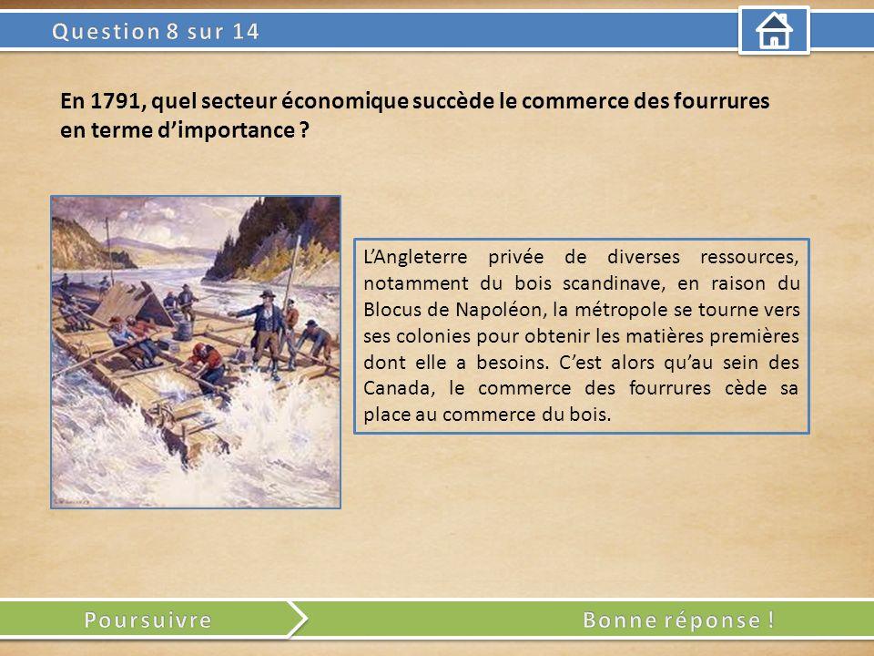 LAngleterre privée de diverses ressources, notamment du bois scandinave, en raison du Blocus de Napoléon, la métropole se tourne vers ses colonies pour obtenir les matières premières dont elle a besoins.