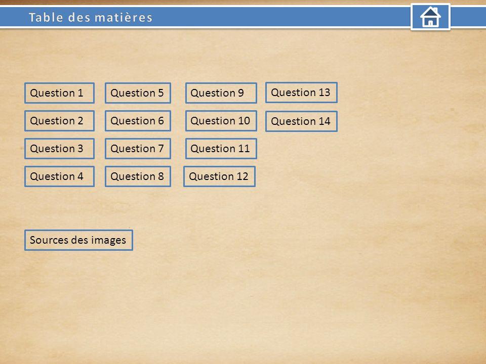 Question 1 Question 2Question 10 Question 9 Question 3 Question 6 Question 4 Question 7 Question 8Question 12 Question 11 Question 5 Question 13 Question 14 Sources des images