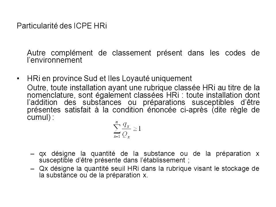 Particularité des ICPE HRi Autre complément de classement présent dans les codes de lenvironnement HRi en province Sud et Iles Loyauté uniquement Outr
