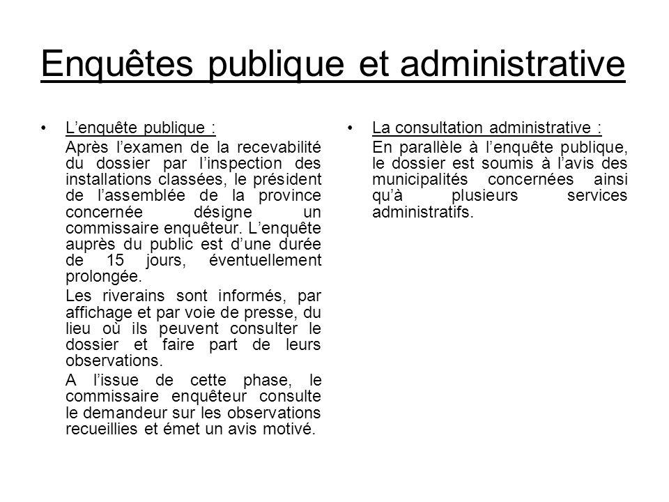 Enquêtes publique et administrative Lenquête publique : Après lexamen de la recevabilité du dossier par linspection des installations classées, le pré