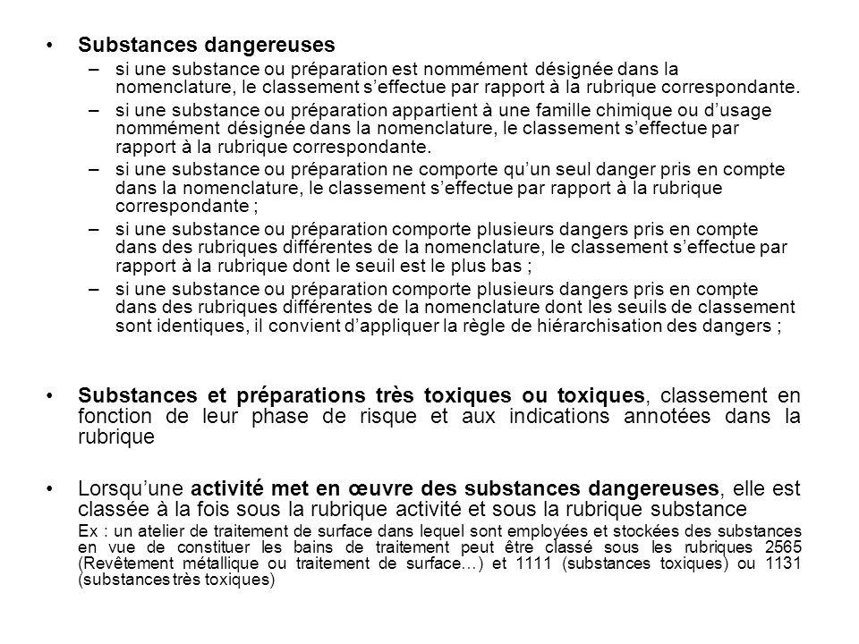 Substances dangereuses –si une substance ou préparation est nommément désignée dans la nomenclature, le classement seffectue par rapport à la rubrique