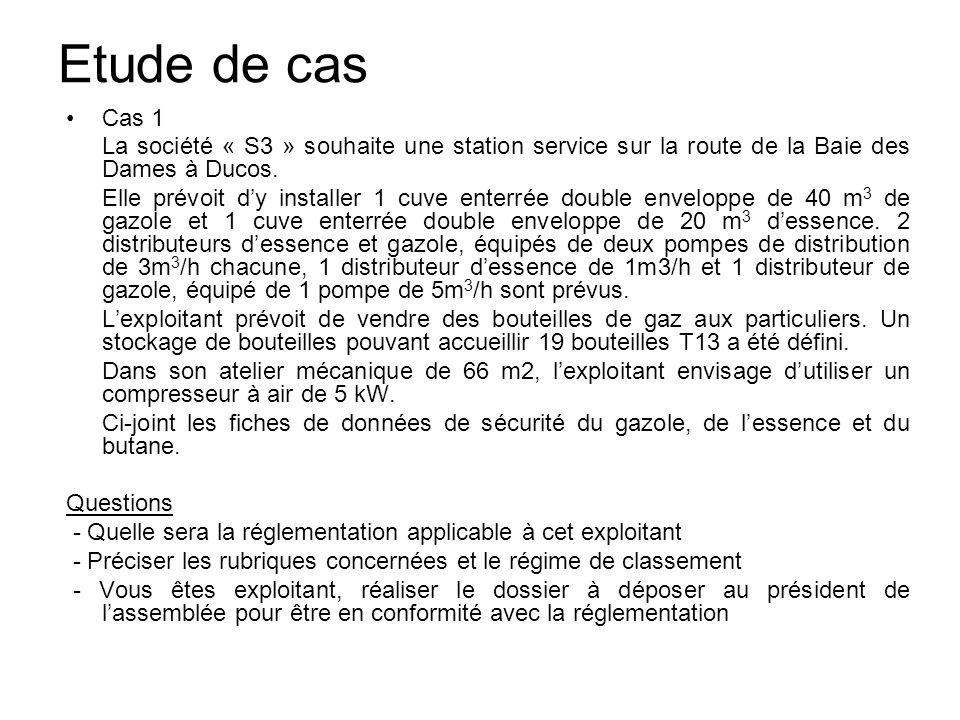 Etude de cas Cas 1 La société « S3 » souhaite une station service sur la route de la Baie des Dames à Ducos. Elle prévoit dy installer 1 cuve enterrée