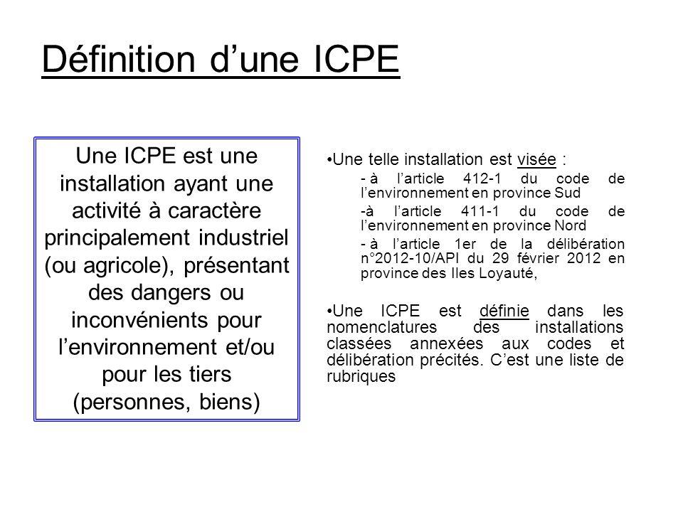 Définition dune ICPE Une telle installation est visée : - à larticle 412-1 du code de lenvironnement en province Sud -à larticle 411-1 du code de lenv