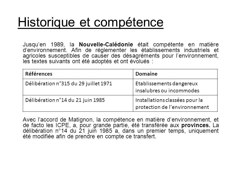 Historique et compétence RéférencesDomaine Délibération n°315 du 29 juillet 1971Etablissements dangereux insalubres ou incommodes Délibération n°14 du