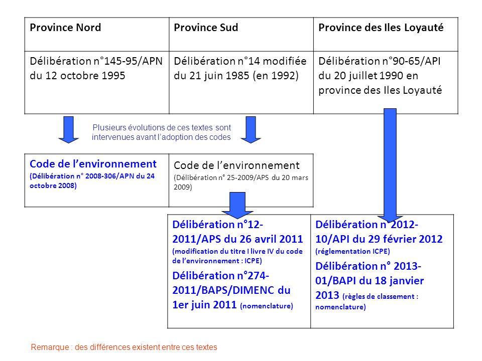 Province NordProvince SudProvince des Iles Loyauté Délibération n°145-95/APN du 12 octobre 1995 Délibération n°14 modifiée du 21 juin 1985 (en 1992) D
