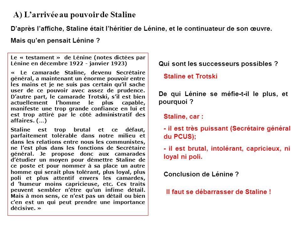 II. La collectivisation de léconomie A) Larrivée au pouvoir de Staline B) La mise en place dune économie socialiste