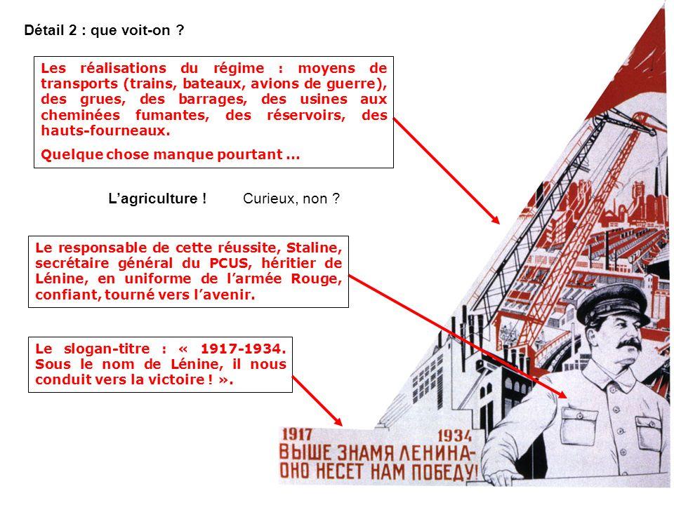 Détail 1 : que voit-on ? Un épisode de la révolution doctobre 1917 : la prise du Palais dHiver à Petrograd. Un slogan de Lénine : « Tout le pouvoir au