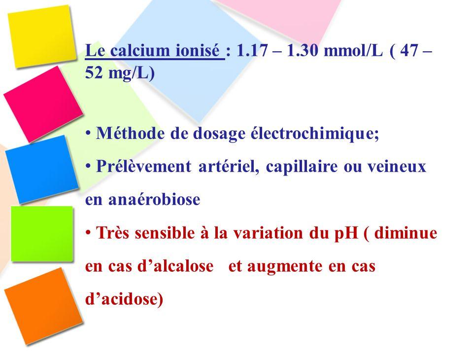 Le calcium ionisé : 1.17 – 1.30 mmol/L ( 47 – 52 mg/L) Méthode de dosage électrochimique; Prélèvement artériel, capillaire ou veineux en anaérobiose T