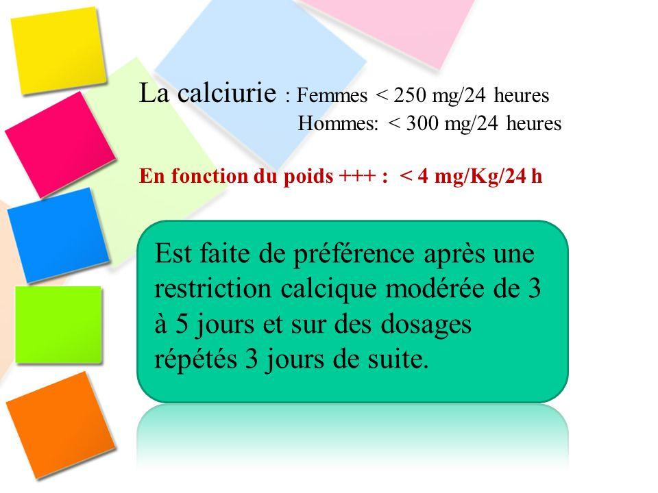 La calciurie : Femmes < 250 mg/24 heures Hommes: < 300 mg/24 heures En fonction du poids +++ : < 4 mg/Kg/24 h Est faite de préférence après une restri