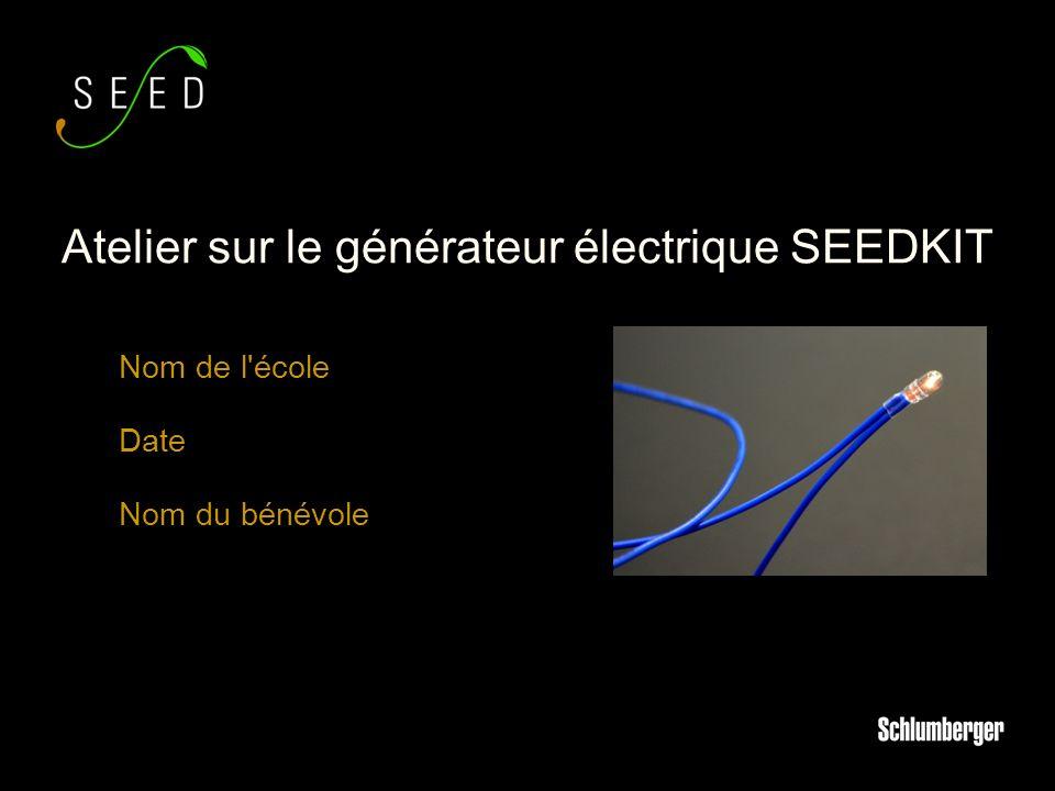 Nom de l école Date Nom du bénévole Atelier sur le générateur électrique SEEDKIT