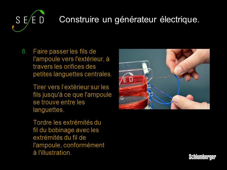 8.Faire passer les fils de l ampoule vers l extérieur, à travers les orifices des petites languettes centrales.
