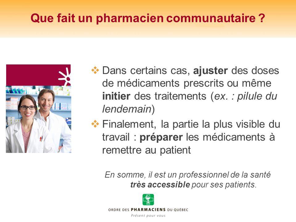 Que fait un pharmacien communautaire ? Dans certains cas, ajuster des doses de médicaments prescrits ou même initier des traitements (ex. : pilule du