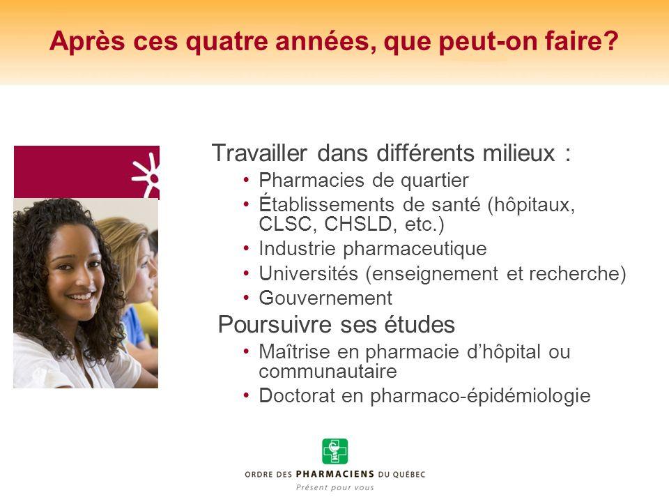 Après ces quatre années, que peut-on faire? Travailler dans différents milieux : Pharmacies de quartier Établissements de santé (hôpitaux, CLSC, CHSLD