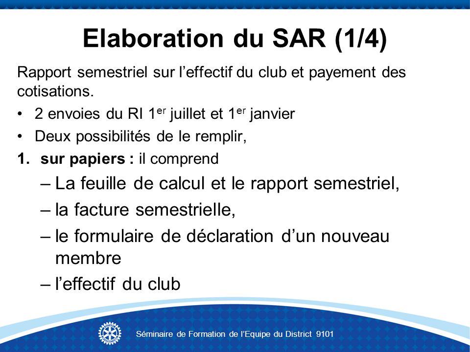 Elaboration du SAR (1/4) Rapport semestriel sur leffectif du club et payement des cotisations. 2 envoies du RI 1 er juillet et 1 er janvier Deux possi