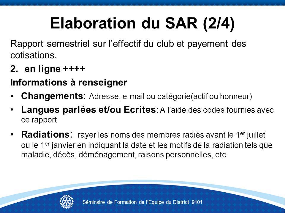 Elaboration du SAR (2/4) Rapport semestriel sur leffectif du club et payement des cotisations. 2.en ligne ++++ Informations à renseigner Changements: