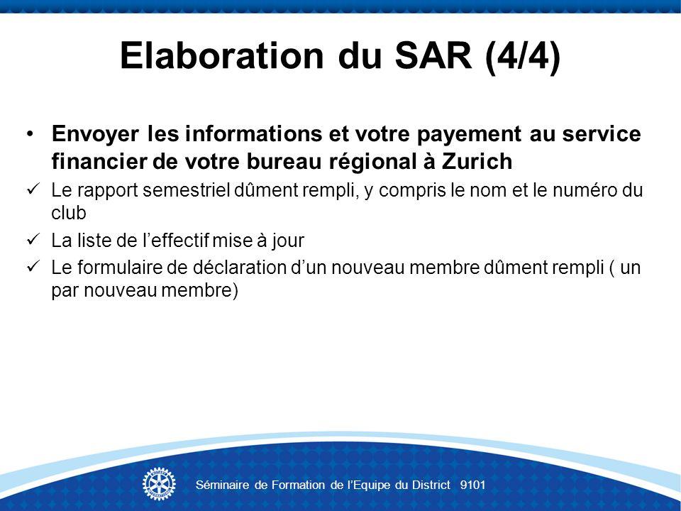 Elaboration du SAR (4/4) Envoyer les informations et votre payement au service financier de votre bureau régional à Zurich Le rapport semestriel dûmen