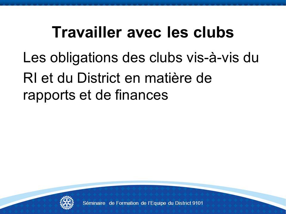 Travailler avec les clubs Les obligations des clubs vis-à-vis du RI et du District en matière de rapports et de finances Séminaire de Formation de lEq