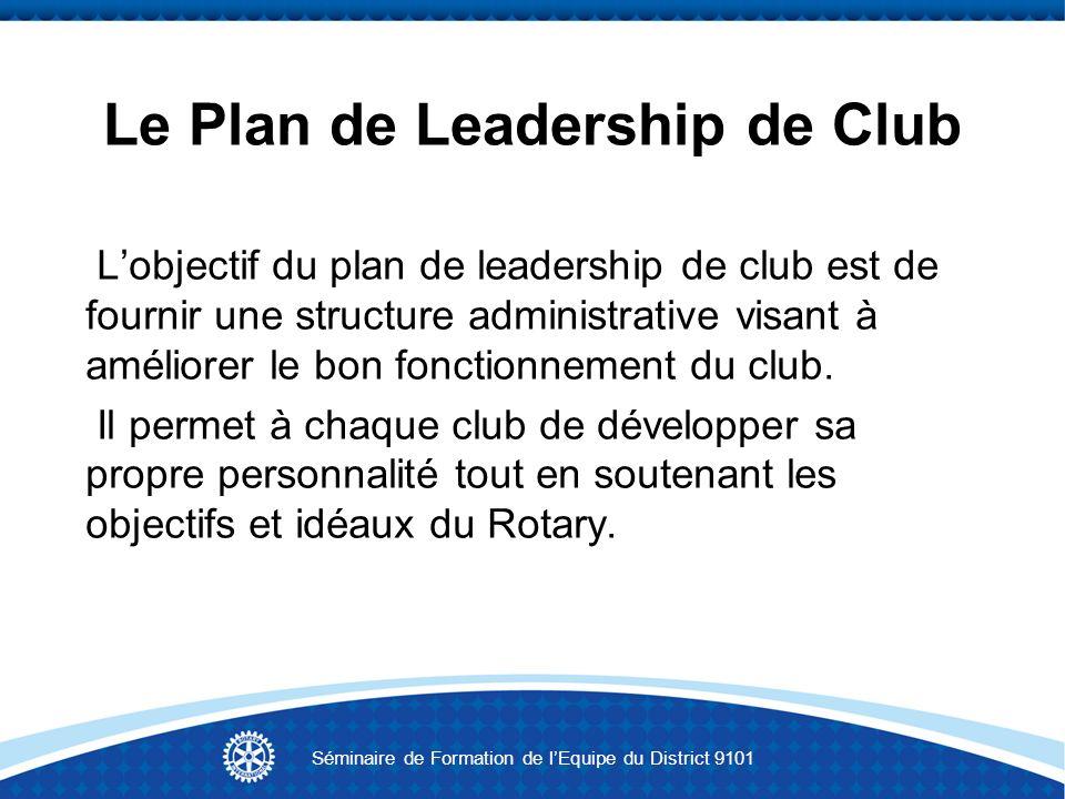 Le Plan de Leadership de Club Lobjectif du plan de leadership de club est de fournir une structure administrative visant à améliorer le bon fonctionne