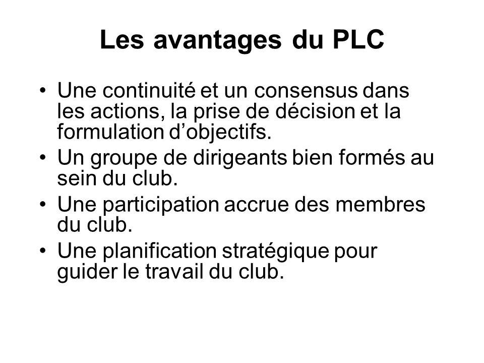 Les avantages du PLC Une continuité et un consensus dans les actions, la prise de décision et la formulation dobjectifs. Un groupe de dirigeants bien