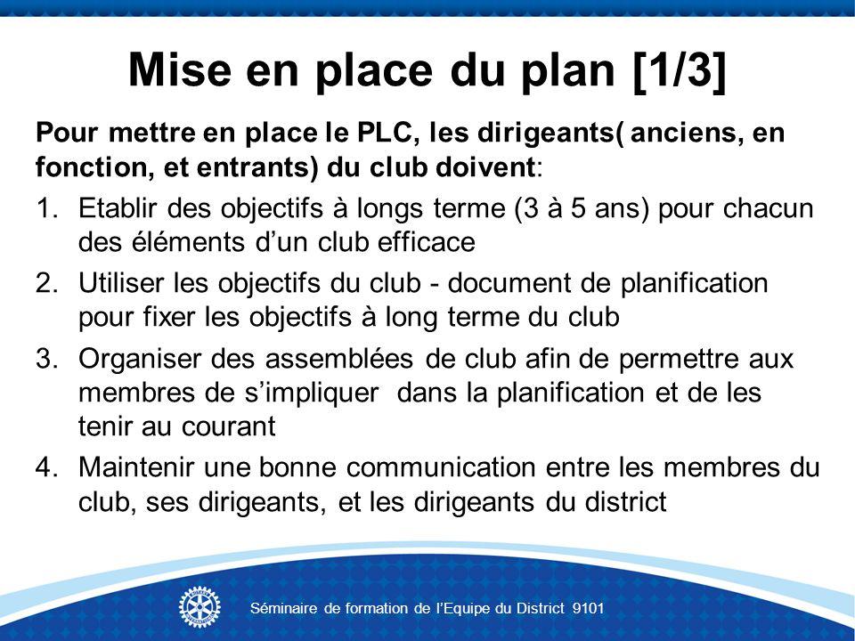 Mise en place du plan [1/3] Pour mettre en place le PLC, les dirigeants( anciens, en fonction, et entrants) du club doivent: 1.Etablir des objectifs à