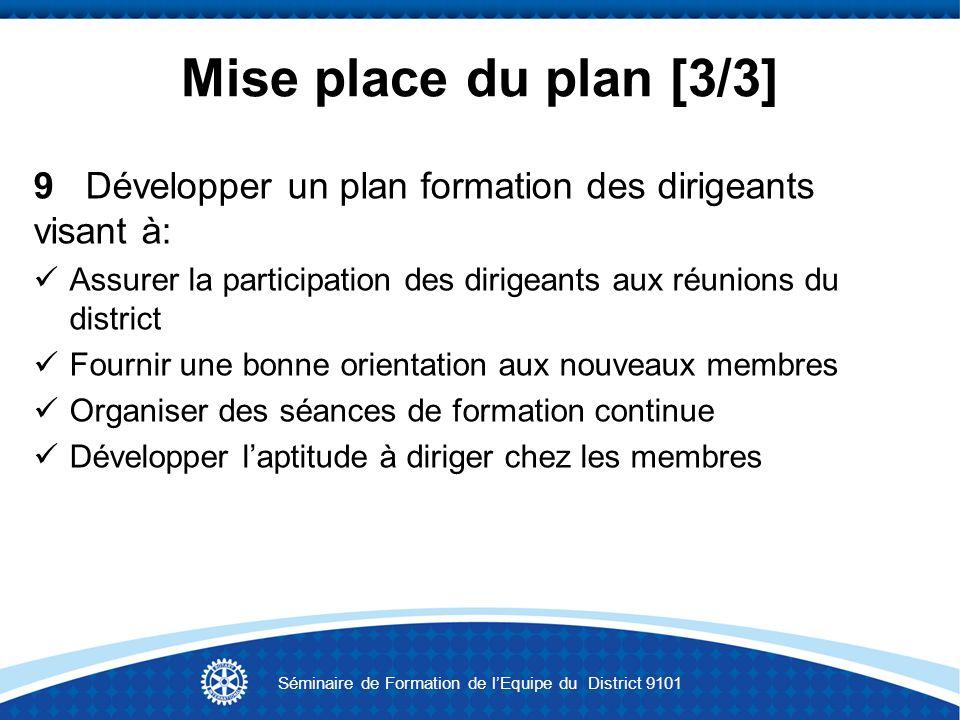 Mise place du plan [3/3] 9 Développer un plan formation des dirigeants visant à: Assurer la participation des dirigeants aux réunions du district Four