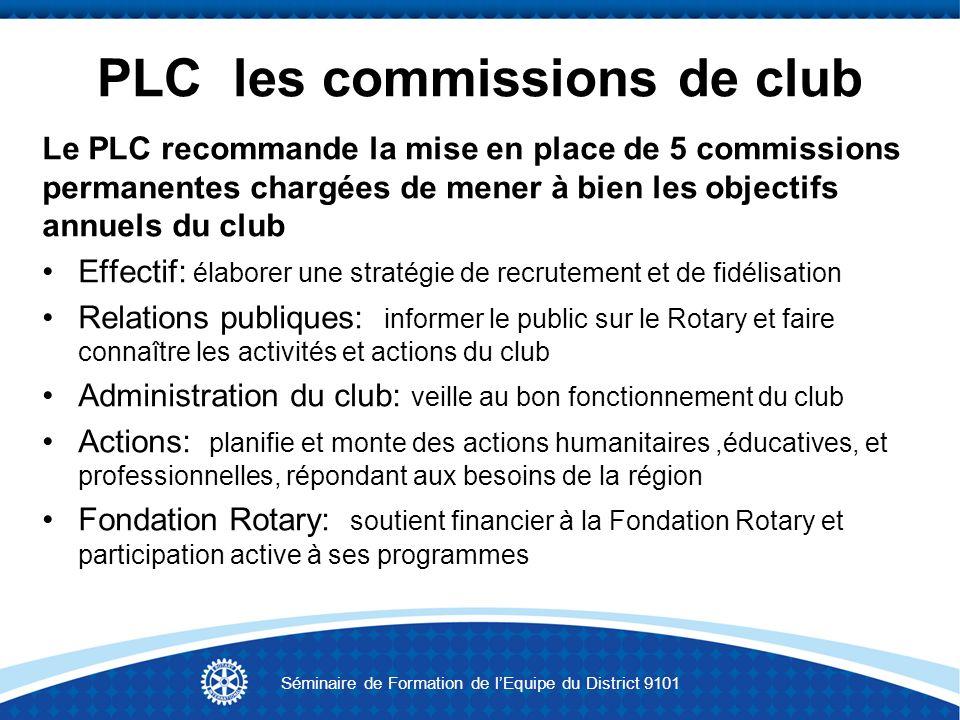 Aider les clubs à être performants Visites de club de lAG Participation aux réunions du District Adoption et mise à jour du PLC Formation permanente des membres La planification Séminaire de Formation de lEquipe du District 9101