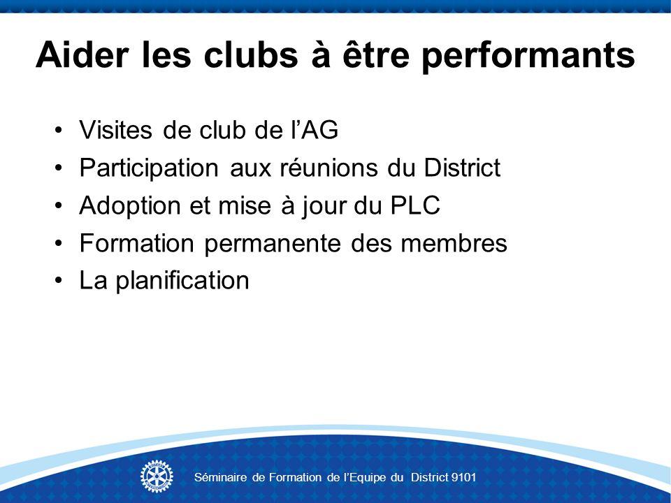 Travailler avec les clubs Les obligations des clubs vis-à-vis du RI et du District en matière de rapports et de finances Séminaire de Formation de lEquipe du District 9101