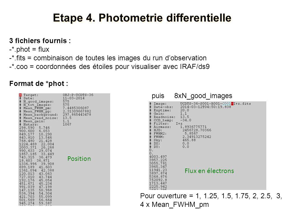 3 fichiers fournis : -*.phot = flux -*.fits = combinaison de toutes les images du run dobservation -*.coo = coordonnées des étoiles pour visualiser avec IRAF/ds9 Format de *phot : puis8xN_good_images Pour ouverture = 1, 1.25, 1.5, 1.75, 2, 2.5, 3, 4 x Mean_FWHM_pm Flux en électrons Position